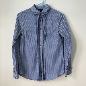 J Crew blue and white striped button down